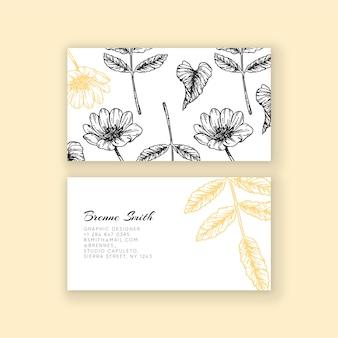 手描きの現実的な花名刺テンプレート