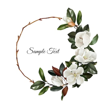Hand drawn realistic floral wreath with white magnolias flowers and green leaves