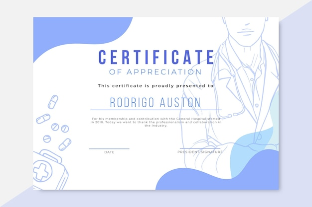 Hand drawn realistic medical certificate