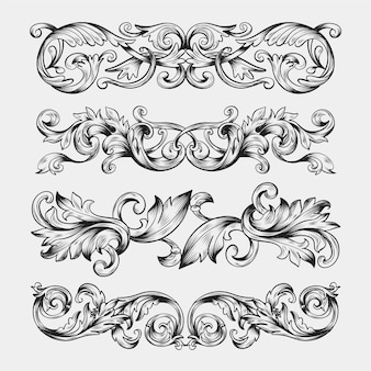 Hand drawn realistic ornamental border