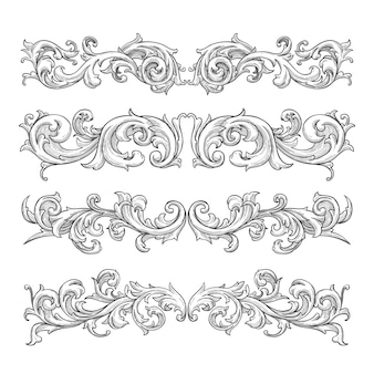 Hand-drawn realistic ornamental border