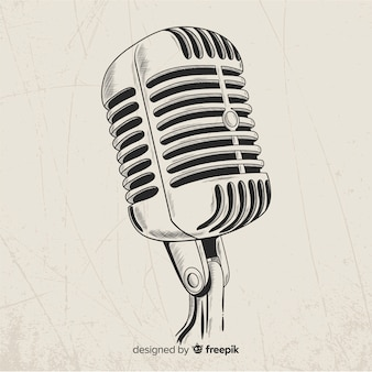 Hand drawn realistic retro microphone
