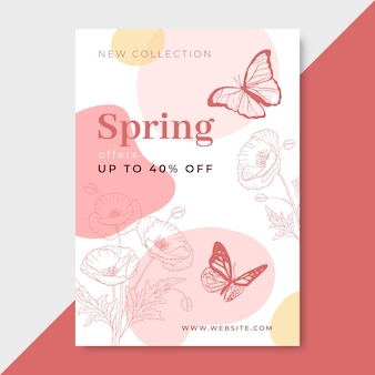 Hand drawn realistic spring poster