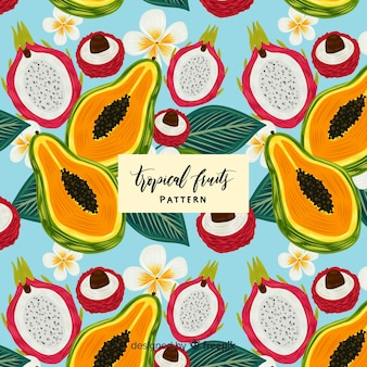 Hand drawn realistic tropical fruit pattern