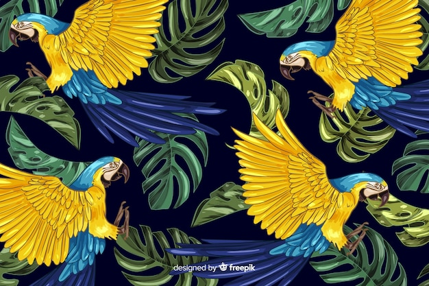 手描きのリアルな熱帯植物と動物の背景