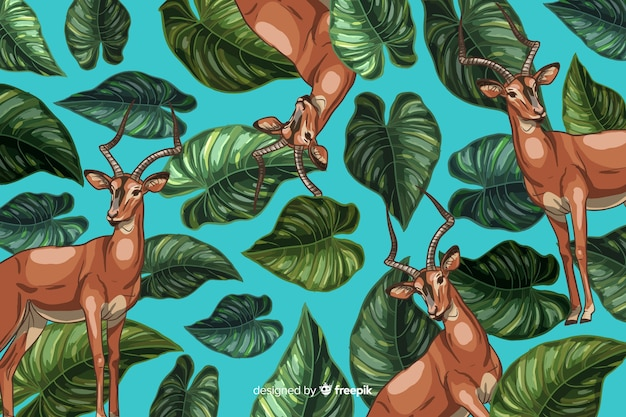 Hand drawn realistic tropical plants and animals background