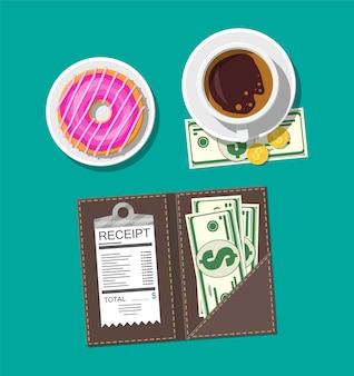 돈과 커피 일러스트와 함께 손으로 그려진 된 영수증