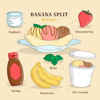 Disegnata a mano ricetta banana split