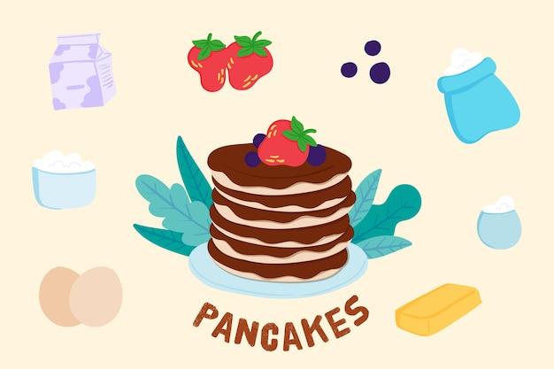 手描きのレシピのパンケーキ