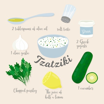 Hand drawn recipe tzatziki