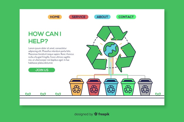 Hand drawn recycling landing page template