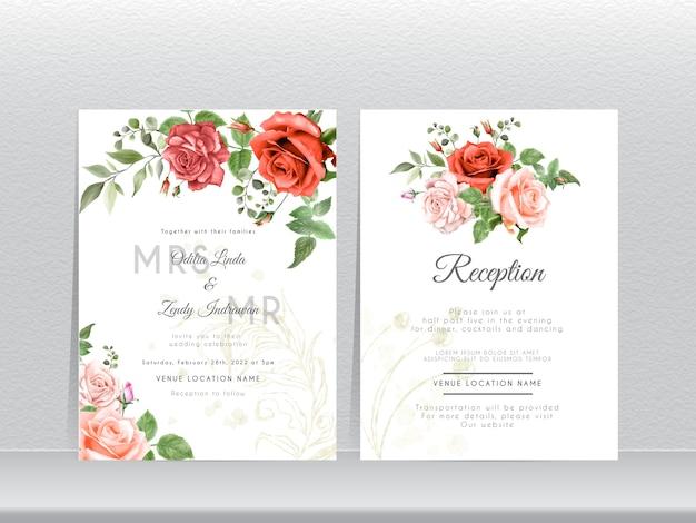 手描きの赤とピンクのバラの結婚式の招待カードセット Premiumベクター