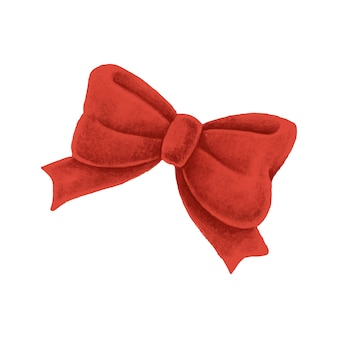 Hand drawn red christmas bow