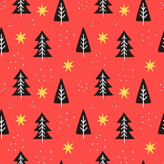 Hand drawn red christmas pattern