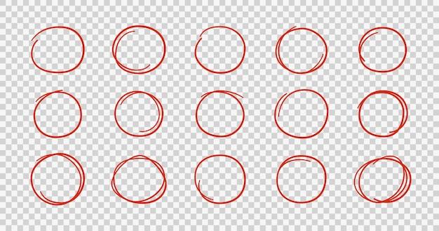 손으로 그린 빨간 동그라미. 둥근 프레임을 강조 표시합니다. 낙서 스타일의 타원형입니다. 투명 한 배경에 고립 된 벡터 일러스트 레이 션의 집합