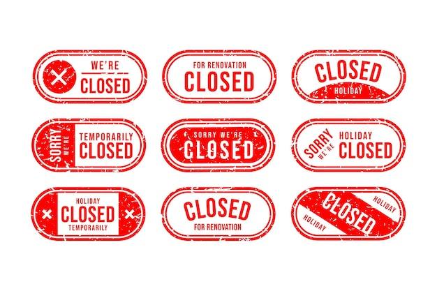 Набор рисованной красной закрытой печати