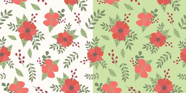 손으로 그린된 붉은 꽃 꽃 그림 완벽 한 패턴