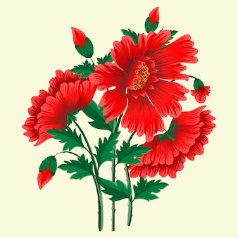 Hand drawn red flowers