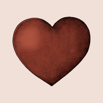 Hand-drawn red heart illustration