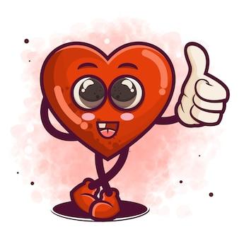 Ручной обращается красное сердце или символ любви мультипликационный персонаж иллюстрации