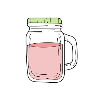 ガラスの瓶に手描きの赤いレモネード。白のベクトル