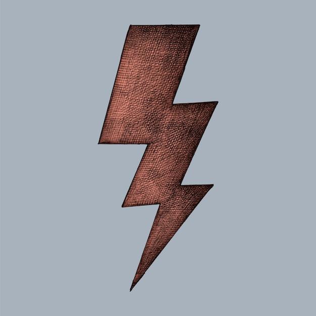 Hand-drawn red lightning illustration