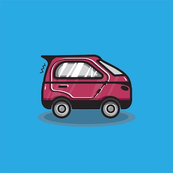 Hand drawn red microcar illustration