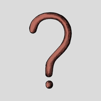 Hand-drawn red question mark illustration