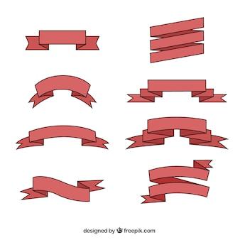 Disegnato a mano collezione nastro rosso