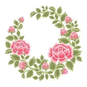 Hand drawn red rose flower frame and wreath arrangement