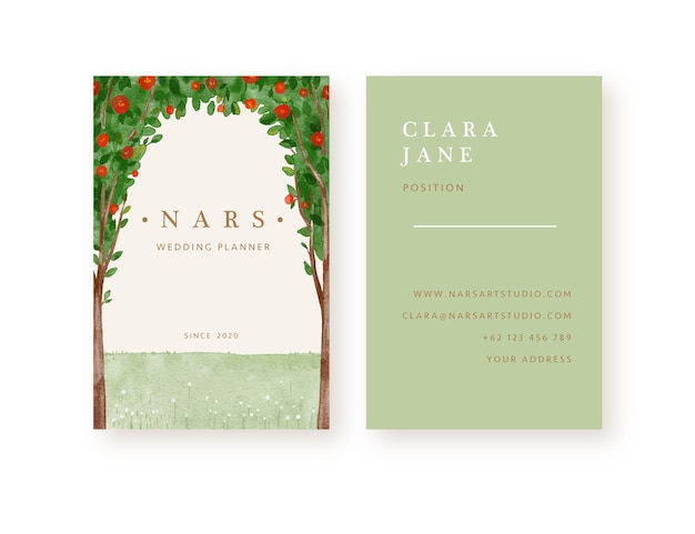 Hand drawn red roses tree background business card template