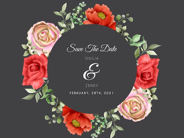 Hand drawn red roses wedding invitation template