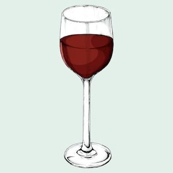 Hand drawn red wine glass