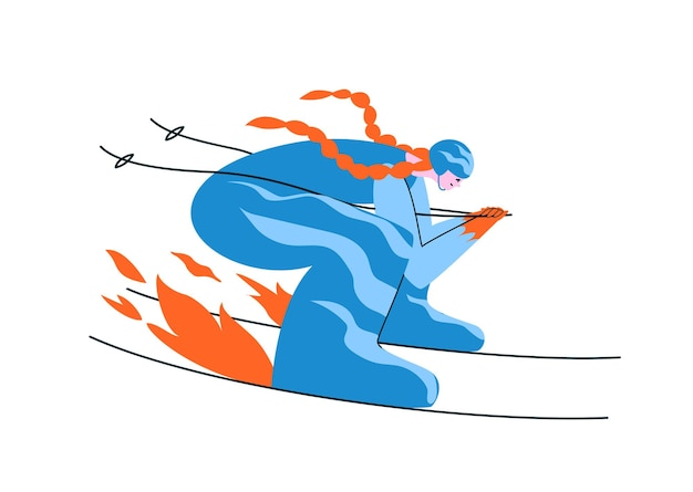 Hand-drawn redhead girl skier in a blue suit. a woman skis in an aerodynamic pose at full speed.
