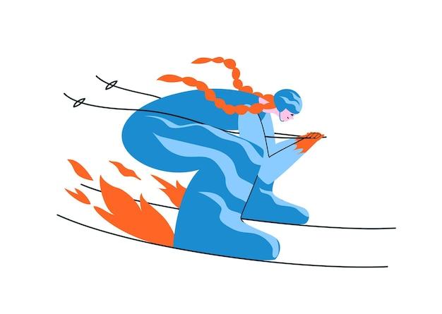 파란 양복에 손으로 그린 빨간 머리 여자 스키어. 여성이 최고 속도로 공기 역학적 포즈를 취하고 있습니다.