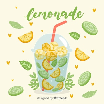 Hand drawn refreshing summer drink