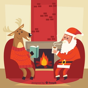 Hand drawn reindeer and santa by the fireplace background