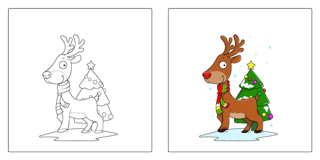 손으로 그린 순록 크리스마스 색칠 페이지 프리미엄 벡터