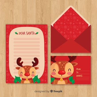 Hand drawn reindeer christmas envelope