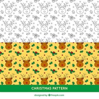 Hand drawn reindeer pattern