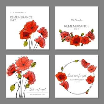 Collezione di post di instagram del giorno della memoria disegnata a mano