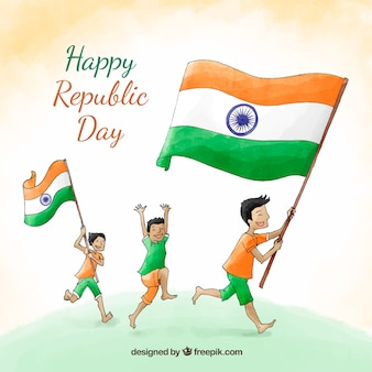 Hand drawn republic day background