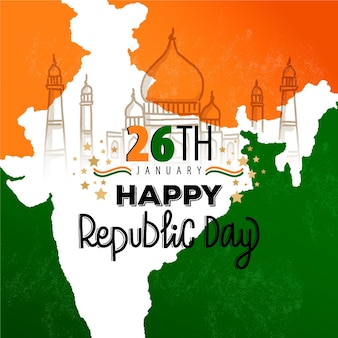 Hand drawn republic day with landmark