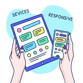 Нарисованная от руки концепция адаптивного дизайна с устройствами и женскими руками