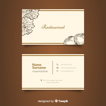 Hand drawn restaurant business card template