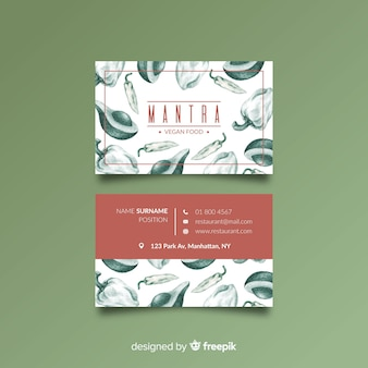 Hand drawn restaurant business card template
