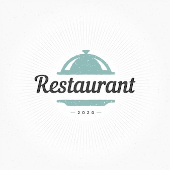 Hand drawn restaurant cloche element in vintage style for logo, label or badge and other
