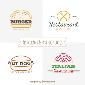 Hand drawn restaurant and fast food logos