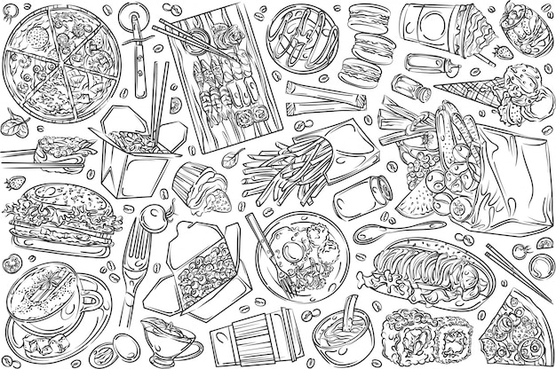 Hand drawn restaurant food