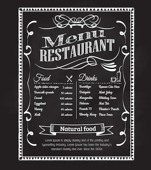 Hand drawn restaurant menu blackboard vintage frame label